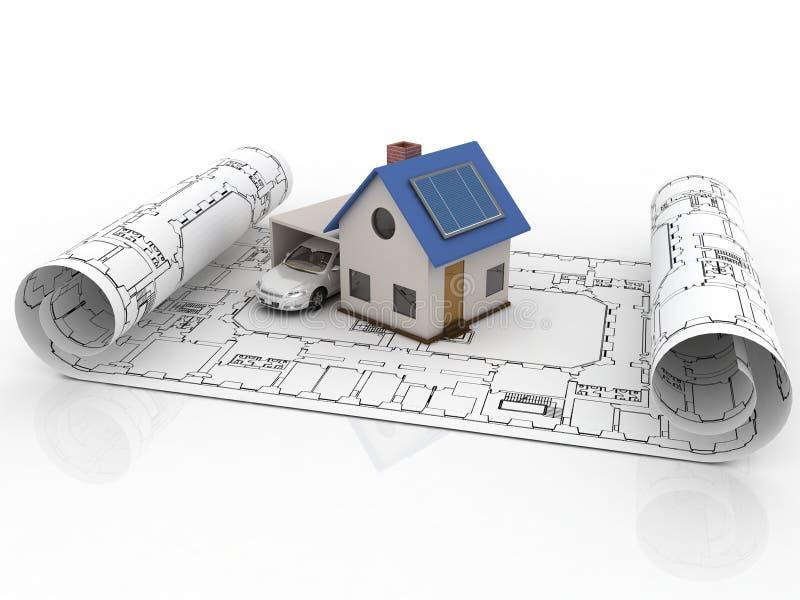 Πρότυπο σπίτι αρχιτεκτονικής με το γκαράζ ελεύθερη απεικόνιση δικαιώματος