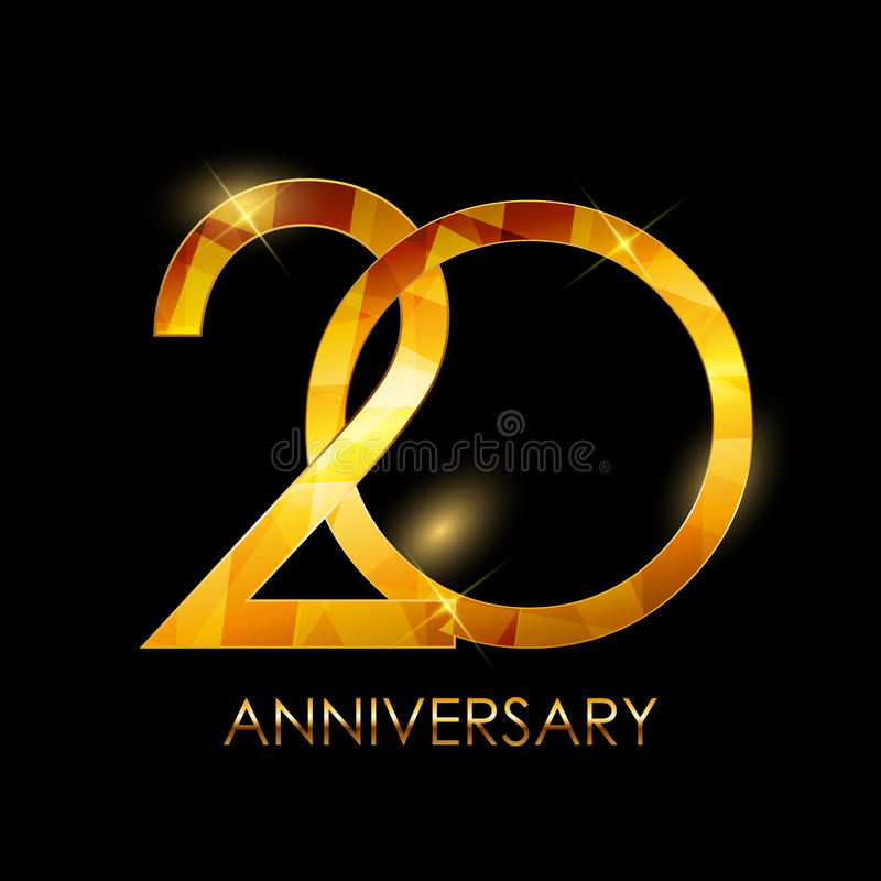 Πρότυπο συγχαρητήρια διανυσματικό Illustratio επετείου 20 ετών απεικόνιση αποθεμάτων