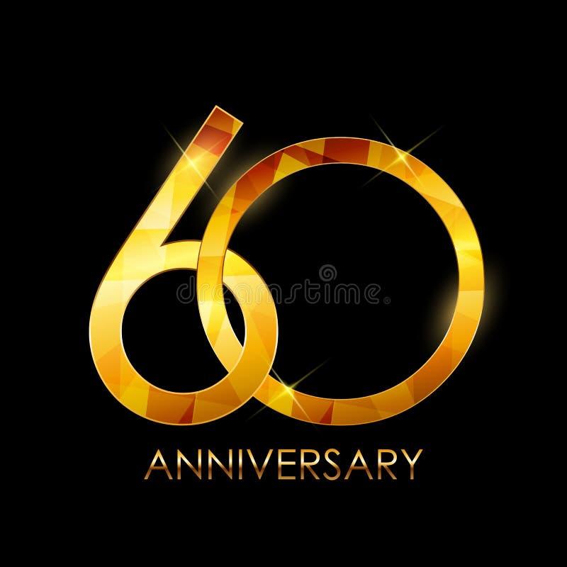 Πρότυπο συγχαρητήρια διανυσματικό Illustratio επετείου 60 ετών ελεύθερη απεικόνιση δικαιώματος