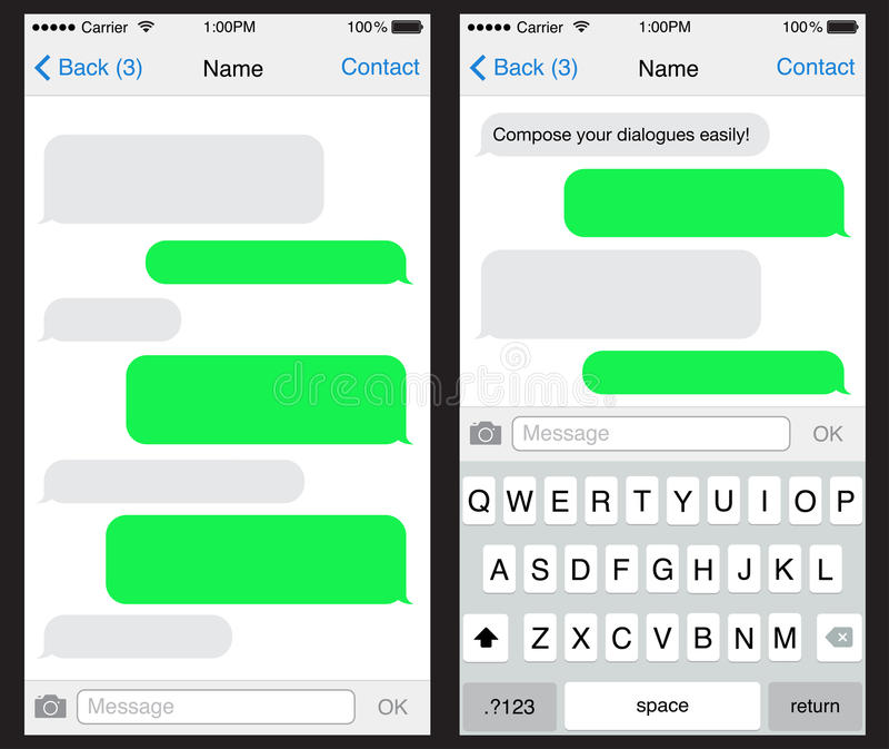 Πρότυπο συνομιλίας/sms εφαρμογής απεικόνιση αποθεμάτων