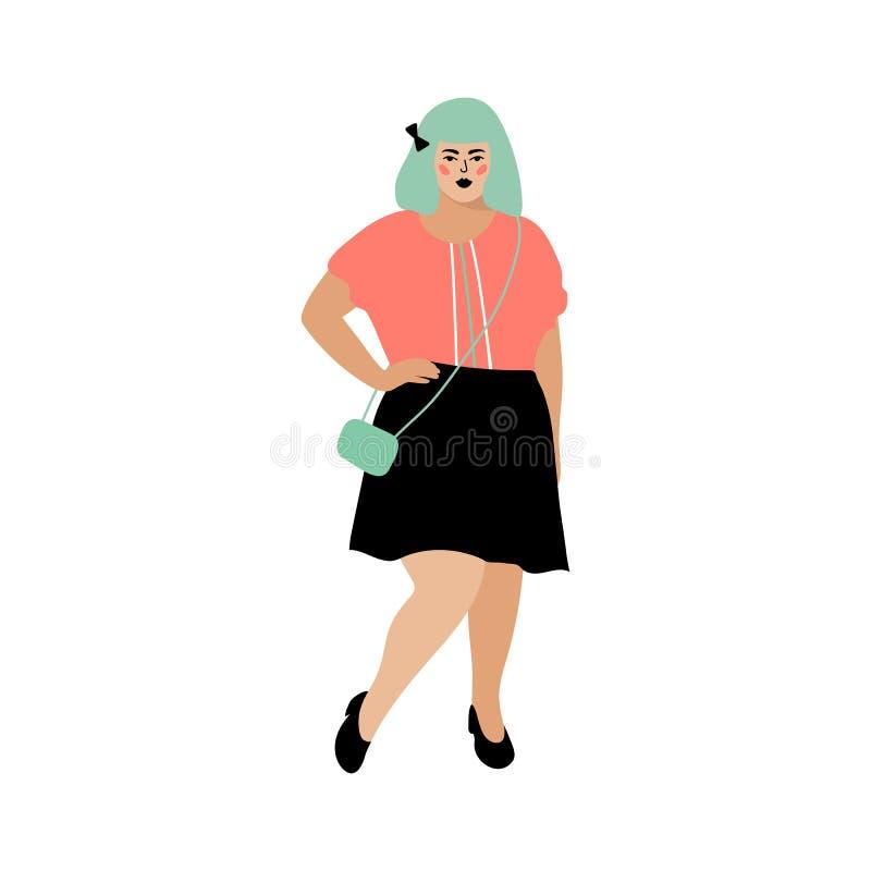 Πρότυπο συν το μέγεθος, παχουλή γυναίκα, όμορφο παχύ κορίτσι Θετική κάρτα σώματος Διανυσματικό επίπεδο σχέδιο διανυσματική απεικόνιση