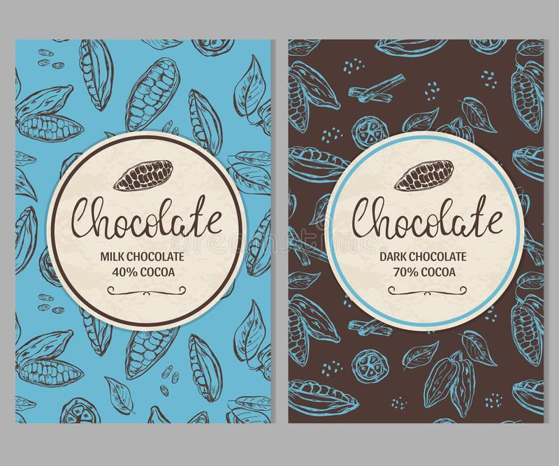 Πρότυπο συσκευασίας σοκολάτας με συρμένα τα χέρι φασόλια κακάου απεικόνιση αποθεμάτων