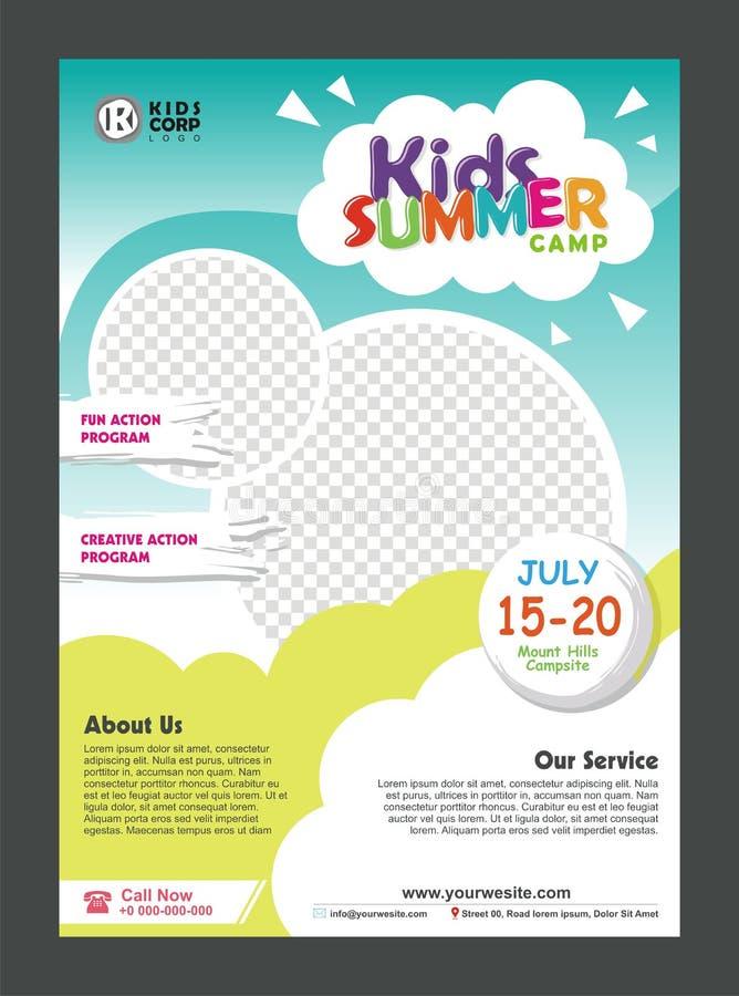 Πρότυπο σχεδίου αφισών εμβλημάτων καλοκαιρινό εκπαιδευτικό κάμπινγκ παιδιών για τα παιδιά διανυσματική απεικόνιση