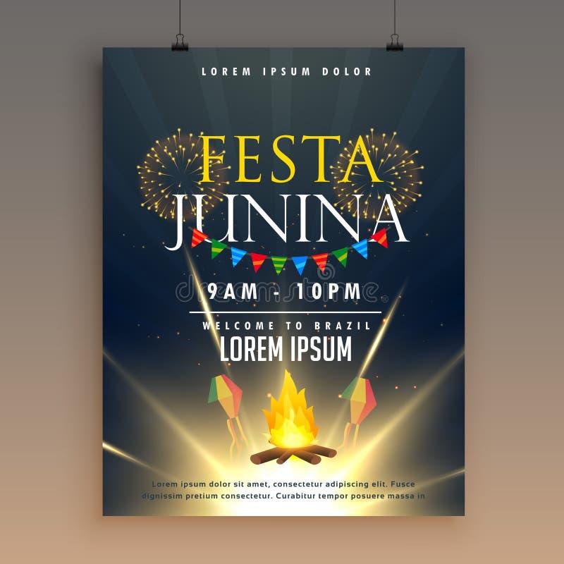 Πρότυπο σχεδίου αφισών εορτασμού junina Festa με τα πυροτεχνήματα διανυσματική απεικόνιση