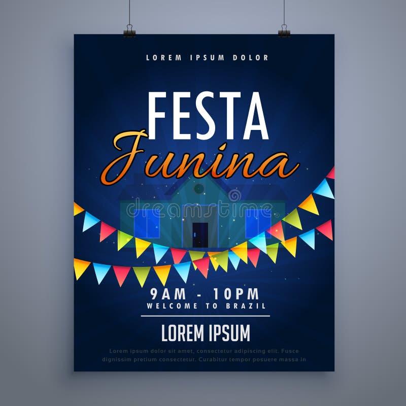 Πρότυπο σχεδίου αφισών ιπτάμενων διακοπών junina Festa απεικόνιση αποθεμάτων
