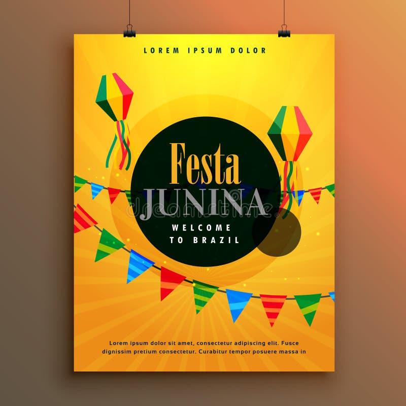 Πρότυπο σχεδίου αφισών πρόσκλησης junina Festa ελεύθερη απεικόνιση δικαιώματος
