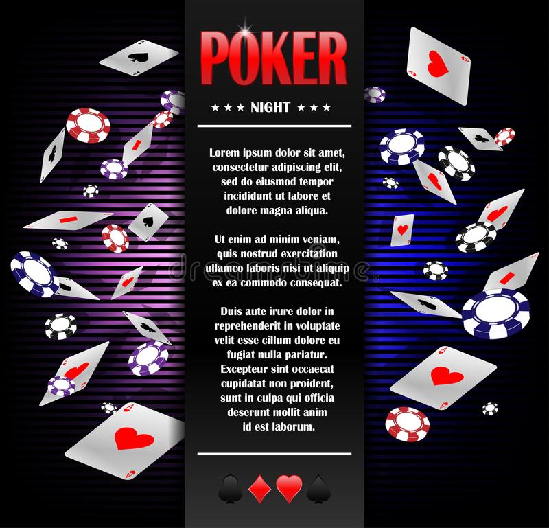 Πρότυπο σχεδίου αφισών υποβάθρου πόκερ παιχνιδιού χαρτοπαικτικών λεσχών Πρόσκληση πόκερ με τις κάρτες και τα τσιπ παιχνιδιού Σε α ελεύθερη απεικόνιση δικαιώματος