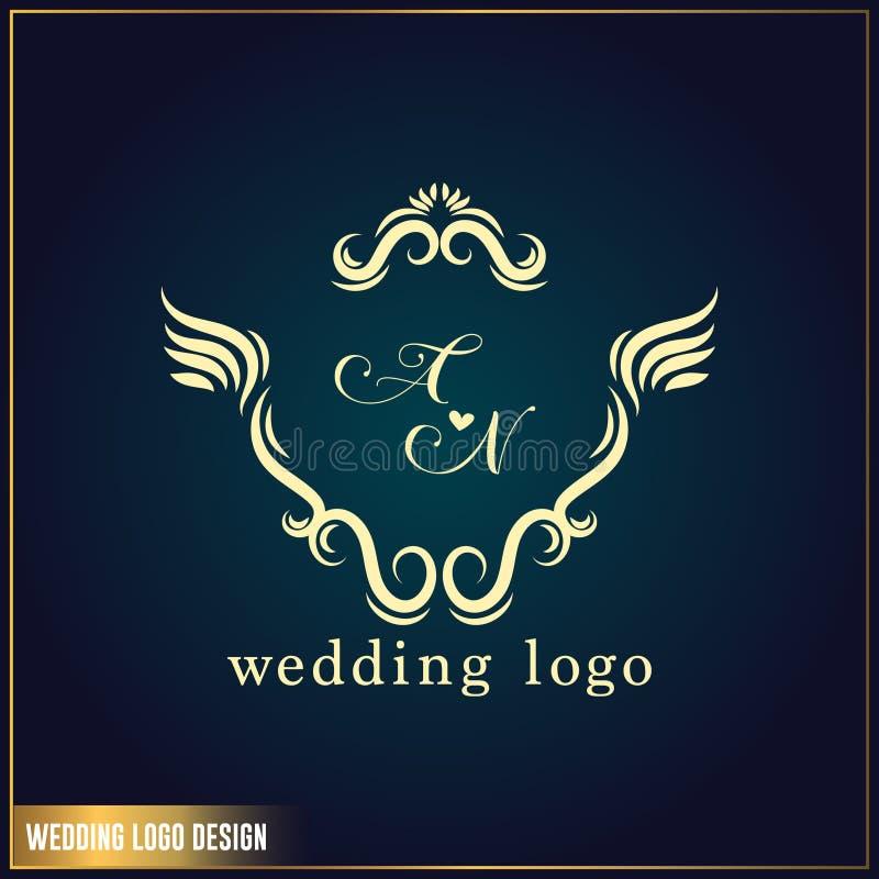 Πρότυπο σχεδίου γαμήλιων λογότυπων Επιστολή αρχικών ένα γαμήλιο λογότυπο Θηλυκή κομψή διακόσμηση σχεδίου γαμήλιων λογότυπων απεικόνιση αποθεμάτων