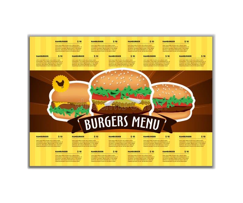 Πρότυπο σχεδίου γρήγορου φαγητού ή επιλογών burgers A4 στο μέγεθος Φυλλάδιο και σχέδιο σχεδιαγράμματος διανυσματική απεικόνιση
