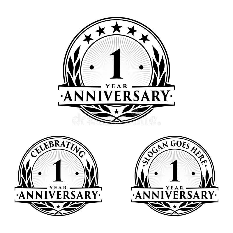 πρότυπο σχεδίου επετείου 1 έτους Διάνυσμα και απεικόνιση επετείου 1$ο λογότυπο ελεύθερη απεικόνιση δικαιώματος