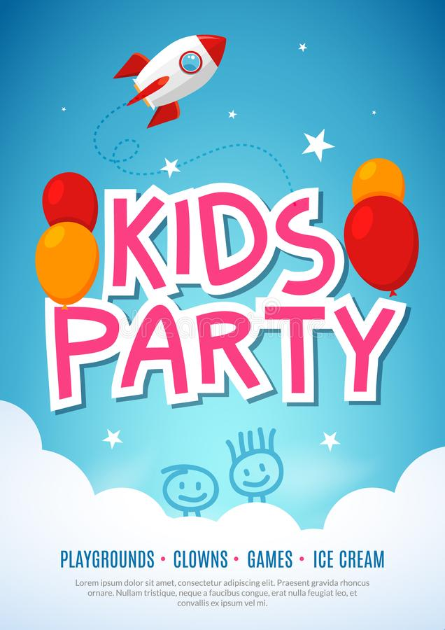 Πρότυπο σχεδίου ιπτάμενων εορτασμού κομμάτων διασκέδασης παιδιών Διακόσμηση εμβλημάτων γεγονότος παιδιών Υπόβαθρο αφισών πρόσκλησ διανυσματική απεικόνιση