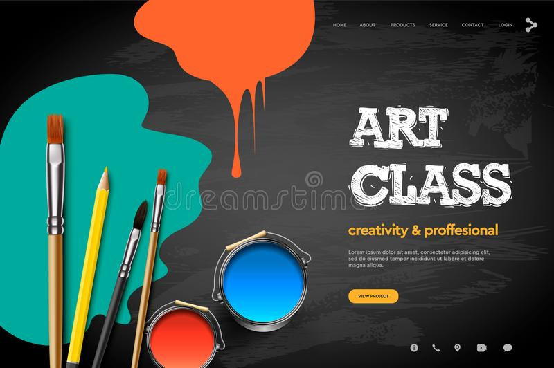 Πρότυπο σχεδίου ιστοσελίδας για την κατηγορία τέχνης, στούντιο, σειρά μαθημάτων, κατηγορία, εκπαίδευση Διανυσματική έννοια απεικό διανυσματική απεικόνιση