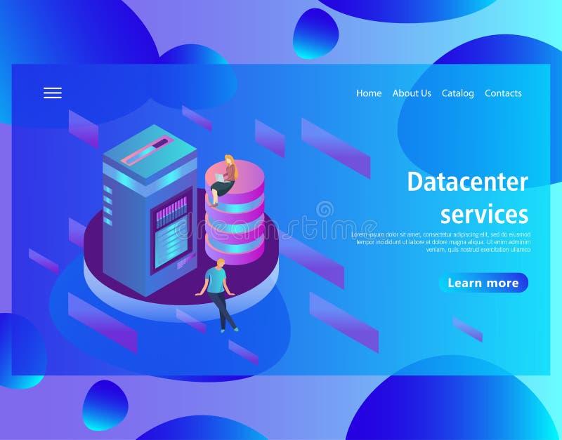 Πρότυπο σχεδίου ιστοσελίδας για τη φιλοξενία και το κέντρο δεδομένων, μεγάλα στοιχεία - επεξεργασία διανυσματική απεικόνιση