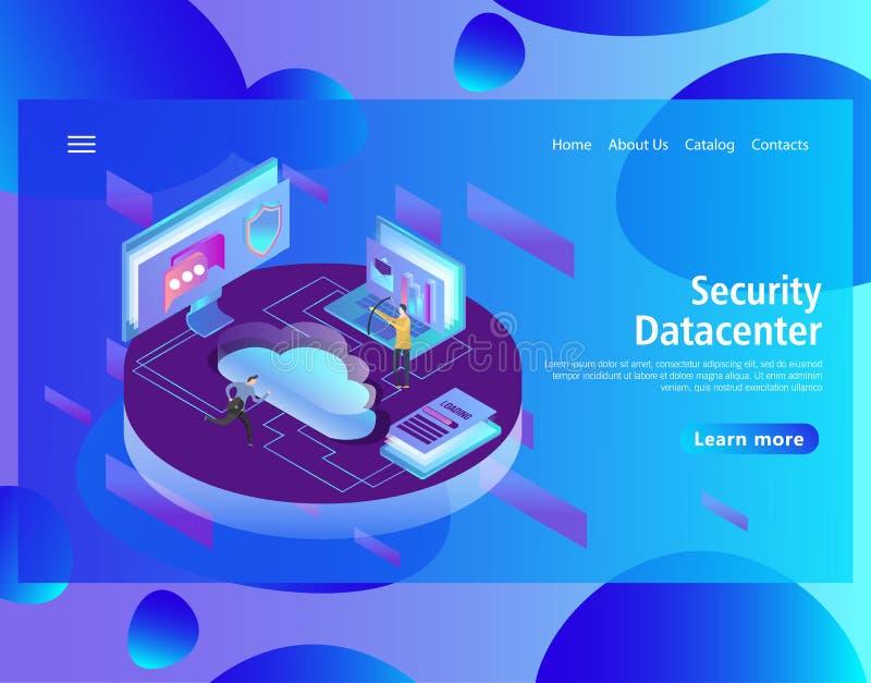 Πρότυπο σχεδίου ιστοσελίδας για τη φιλοξενία και το κέντρο δεδομένων, μεγάλα στοιχεία - επεξεργασία ελεύθερη απεικόνιση δικαιώματος