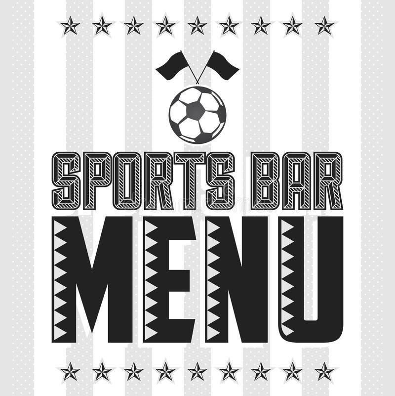 Πρότυπο σχεδίου κάλυψης επιλογών αθλητικών φραγμών, εστιατόριο θέματος ποδοσφαίρου απεικόνιση αποθεμάτων