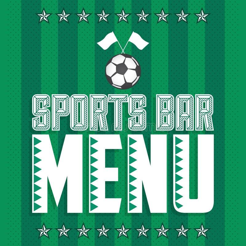 Πρότυπο σχεδίου κάλυψης επιλογών αθλητικών φραγμών, εστιατόριο θέματος ποδοσφαίρου διανυσματική απεικόνιση