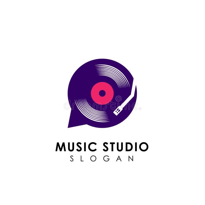 πρότυπο σχεδίου λογότυπων συνομιλίας μουσικής βινυλίου σύμβολο δ εικονιδίων δίσκων διανυσματικό απεικόνιση αποθεμάτων