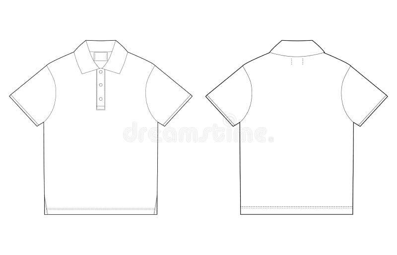 Πρότυπο σχεδίου μπλουζών πόλο πίσω μέτωπο διανυσματική απεικόνιση