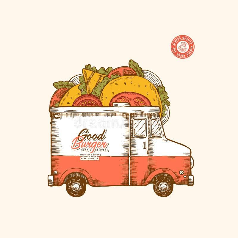 Πρότυπο σχεδίου παράδοσης γρήγορου φαγητού Κλασικό φορτηγό τροφίμων με τα burgers και τα σάντουιτς επίσης corel σύρετε το διάνυσμ απεικόνιση αποθεμάτων