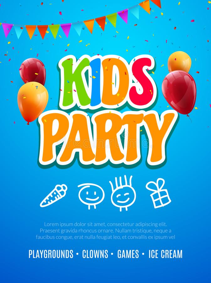 Πρότυπο σχεδίου πρόσκλησης κομμάτων παιδιών Διακόσμηση εμβλημάτων αφισών ιπτάμενων διασκέδασης εορτασμού παιδιών για τα παιδιά απεικόνιση αποθεμάτων