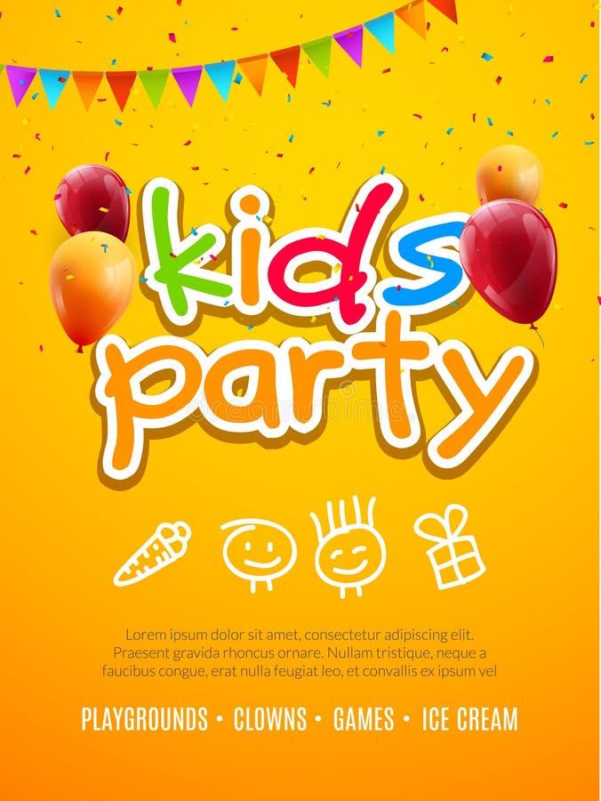 Πρότυπο σχεδίου πρόσκλησης κομμάτων παιδιών Διακόσμηση εμβλημάτων αφισών ιπτάμενων διασκέδασης εορτασμού παιδιών διανυσματική απεικόνιση