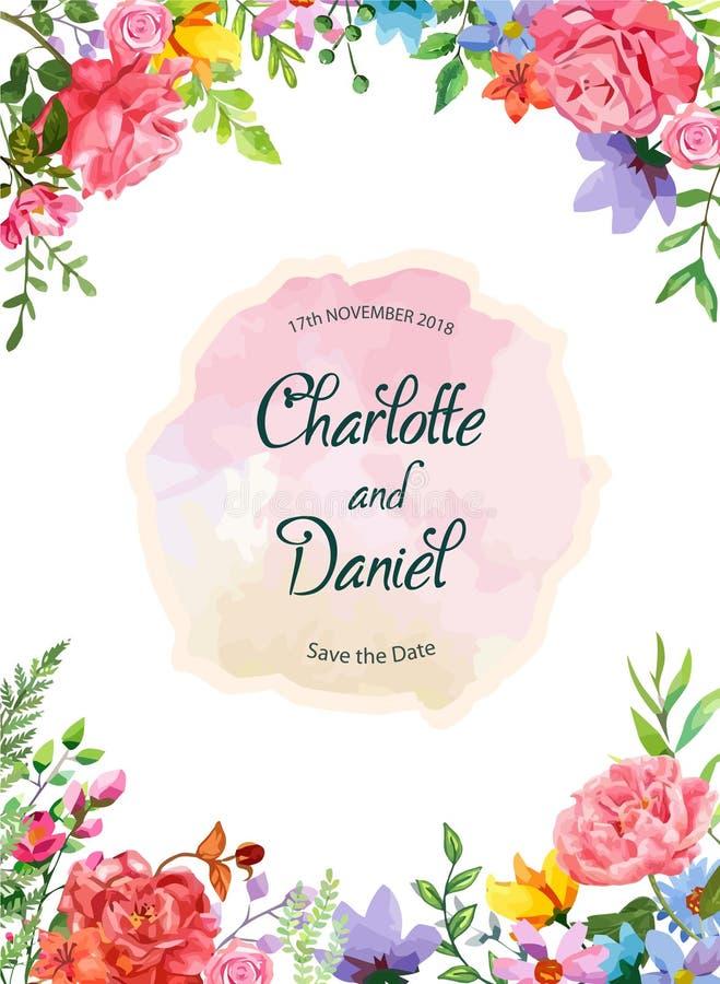 Πρότυπο σχεδίου πρόσκλησης πλαισίων λουλουδιών διανυσματική απεικόνιση με το ύφος watercolor Όμορφα λουλούδια και υπόβαθρο φυλλώμ απεικόνιση αποθεμάτων