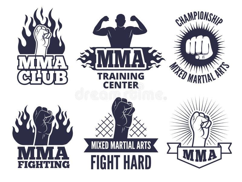 Πρότυπο σχεδίου των αθλητικών αρειανών ετικετών για τους μαχητές mma ελεύθερη απεικόνιση δικαιώματος