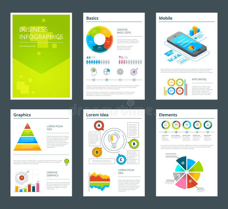 Πρότυπο σχεδίου των επιχειρησιακών ετήσια εκθέσεων Διανυσματικό φυλλάδιο απεικόνιση αποθεμάτων