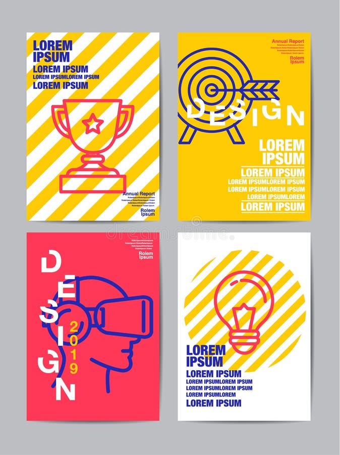 Πρότυπο σχεδίου φυλλάδιων ιπτάμενων, ετήσια έκθεση, κάλυψη, επίπεδα des απεικόνιση αποθεμάτων