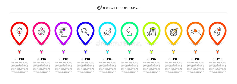 Πρότυπο σχεδίου Infographic Έννοια υπόδειξης ως προς το χρόνο με 10 βήματα απεικόνιση αποθεμάτων