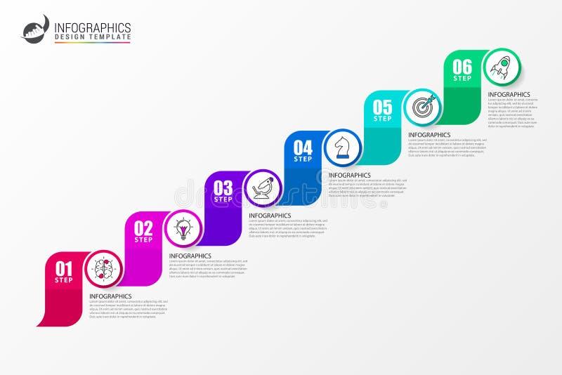 Πρότυπο σχεδίου Infographic Έννοια υπόδειξης ως προς το χρόνο με 6 βήματα απεικόνιση αποθεμάτων