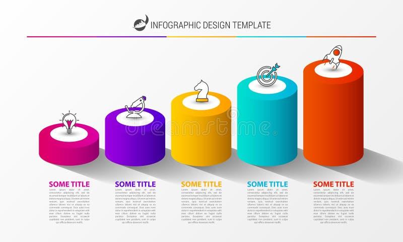 Πρότυπο σχεδίου Infographic Δημιουργική έννοια με 5 βήματα ελεύθερη απεικόνιση δικαιώματος