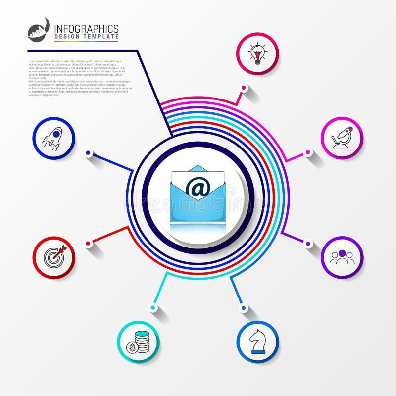 Πρότυπο σχεδίου Infographic Δημιουργική έννοια με 7 βήματα ελεύθερη απεικόνιση δικαιώματος