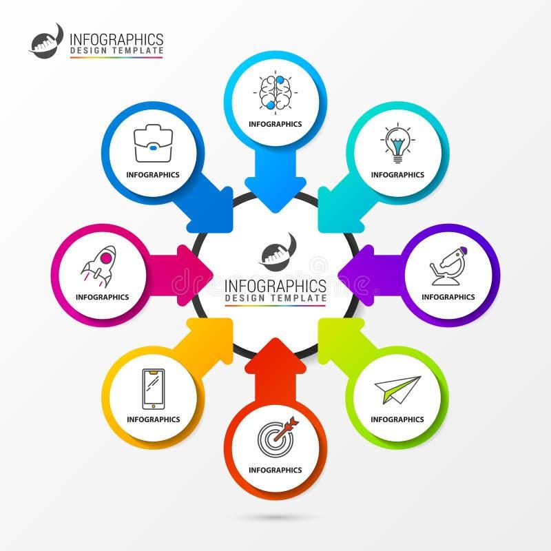 Πρότυπο σχεδίου Infographic Διάγραμμα οργάνωσης με 8 βήματα ελεύθερη απεικόνιση δικαιώματος