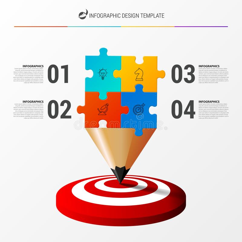 Πρότυπο σχεδίου Infographic Επιχειρησιακή έννοια με 4 βήματα ελεύθερη απεικόνιση δικαιώματος