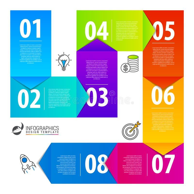 Πρότυπο σχεδίου Infographic με 8 βήματα διάνυσμα ελεύθερη απεικόνιση δικαιώματος