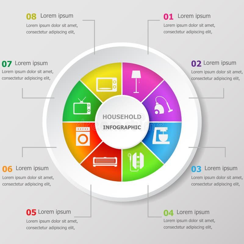 Πρότυπο σχεδίου Infographic με τα οικιακά εικονίδια διανυσματική απεικόνιση