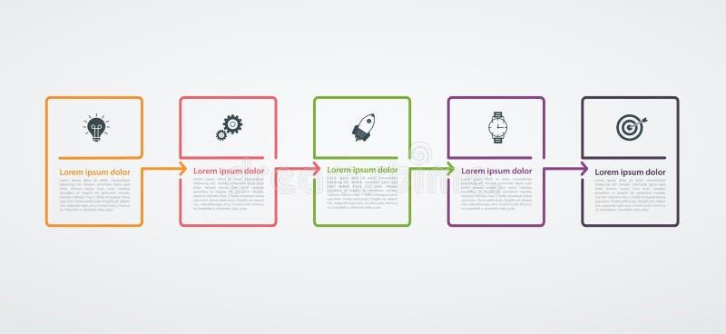 Πρότυπο σχεδίου Infographic με τη δομή βημάτων Επιχειρησιακή έννοια με 5 κομμάτια ή βήματα επιλογών Διάγραμμα φραγμών, γραφική πα απεικόνιση αποθεμάτων