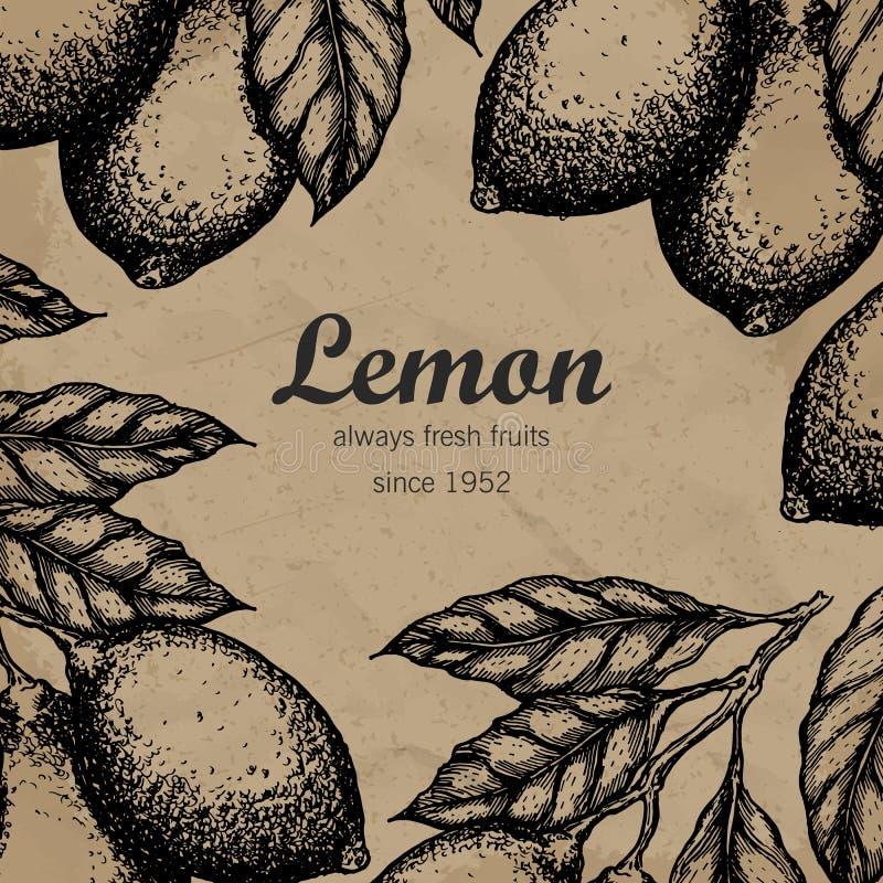 Πρότυπο σχεδίου δέντρων λεμονιών Συρμένος χέρι κλάδος φρούτων λεμονιών με το σκίτσο φύλλων απεικόνιση αποθεμάτων