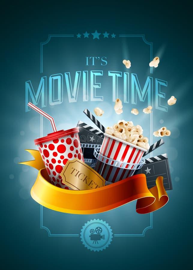 Πρότυπο σχεδίου αφισών έννοιας κινηματογράφων διανυσματική απεικόνιση