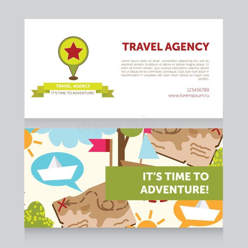 Πρότυπο σχεδίου για τη επαγγελματική κάρτα ταξιδιωτικών γραφείων ελεύθερη απεικόνιση δικαιώματος