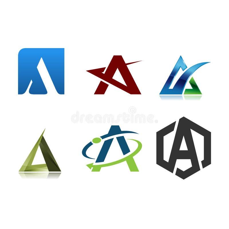 Πρότυπο σχεδίου γραμμάτων Α λογότυπων διανυσματική απεικόνιση