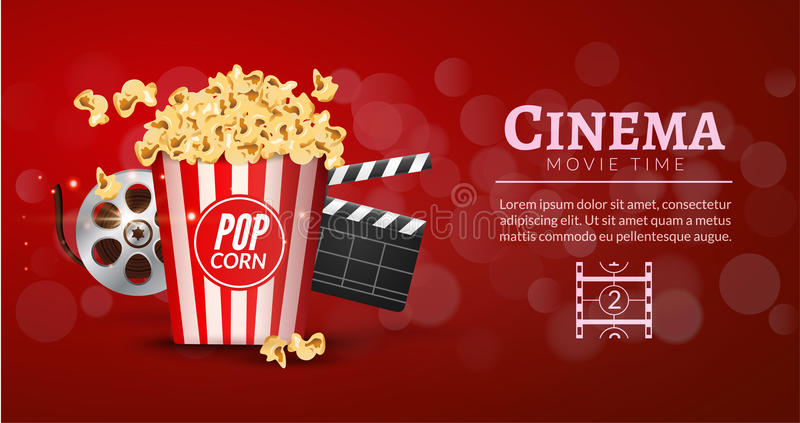 Πρότυπο σχεδίου εμβλημάτων ταινιών κινηματογράφων Έννοια κινηματογράφων με popcorn, filmstrip και clapper ταινιών Αφίσα κινηματογ ελεύθερη απεικόνιση δικαιώματος
