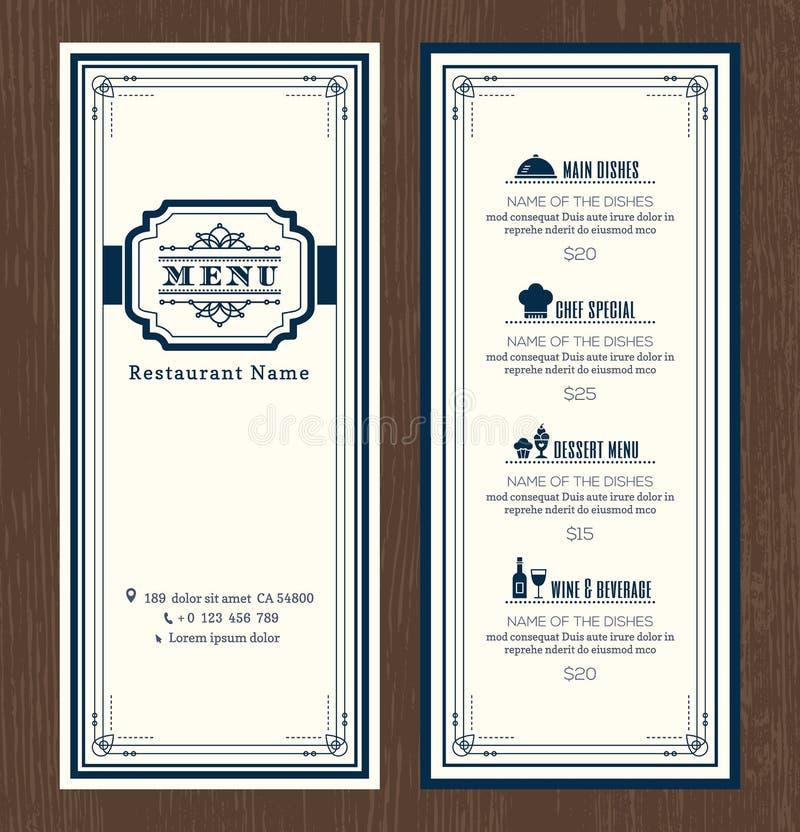 Πρότυπο σχεδίου επιλογών εστιατορίων ή καφέδων με το εκλεκτής ποιότητας αναδρομικό ύφος διανυσματική απεικόνιση
