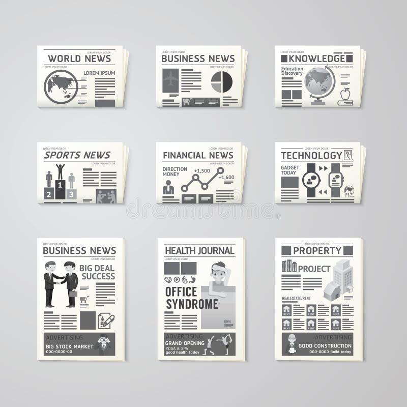 Πρότυπο σχεδίου εφημερίδων καθημερινά οριζόντια διανυσματικό καθορισμένο επιχείρηση, υγεία, ελεύθερη απεικόνιση δικαιώματος