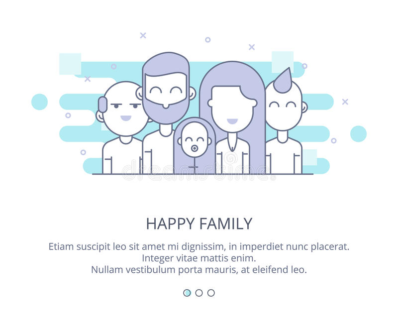 Πρότυπο σχεδίου ιστοσελίδας της ευτυχών οικογένειας, των παππούδων και γιαγιάδων, των γονέων και των παιδιών Διανυσματική απεικόν διανυσματική απεικόνιση