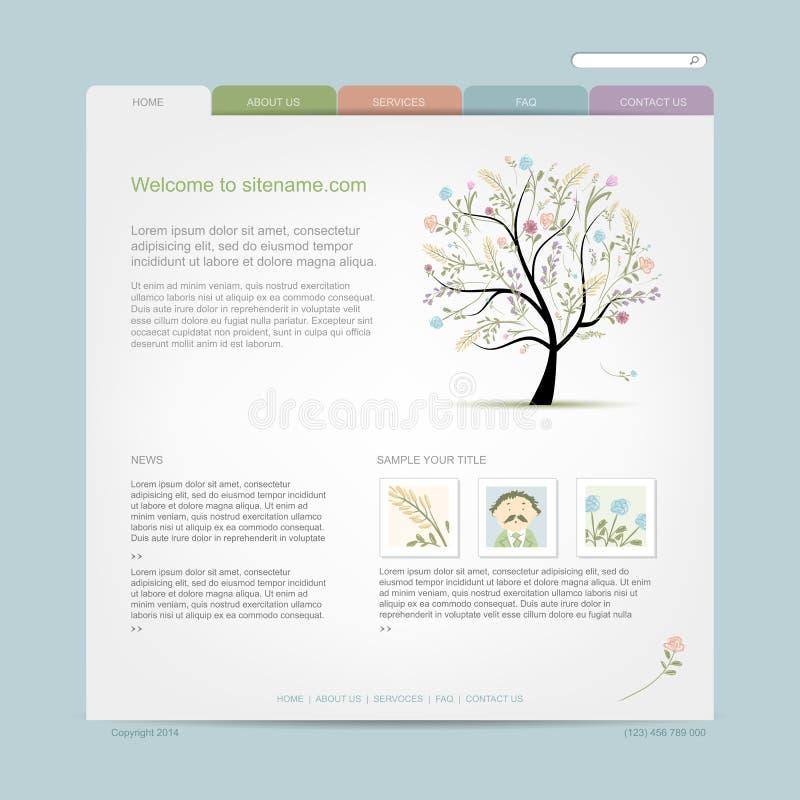 Πρότυπο σχεδίου ιστοχώρου με το floral δέντρο διανυσματική απεικόνιση