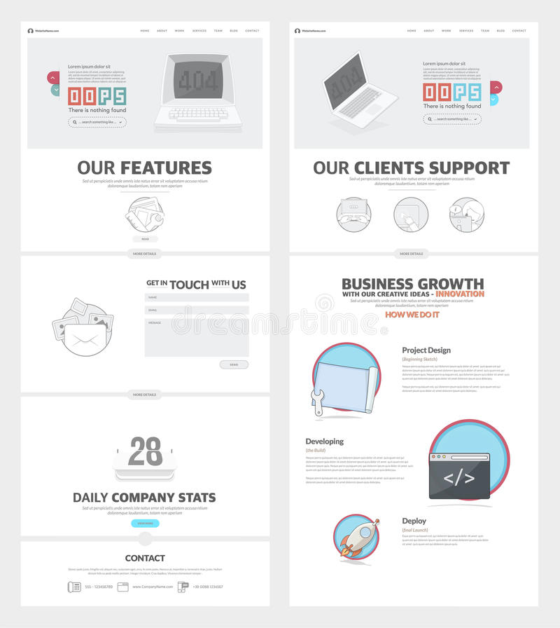 Πρότυπο σχεδίου ιστοχώρου δύο σελίδων με τα εικονίδια και τα είδωλα έννοιας για το χαρτοφυλάκιο επιχειρησιακής επιχείρησης απεικόνιση αποθεμάτων