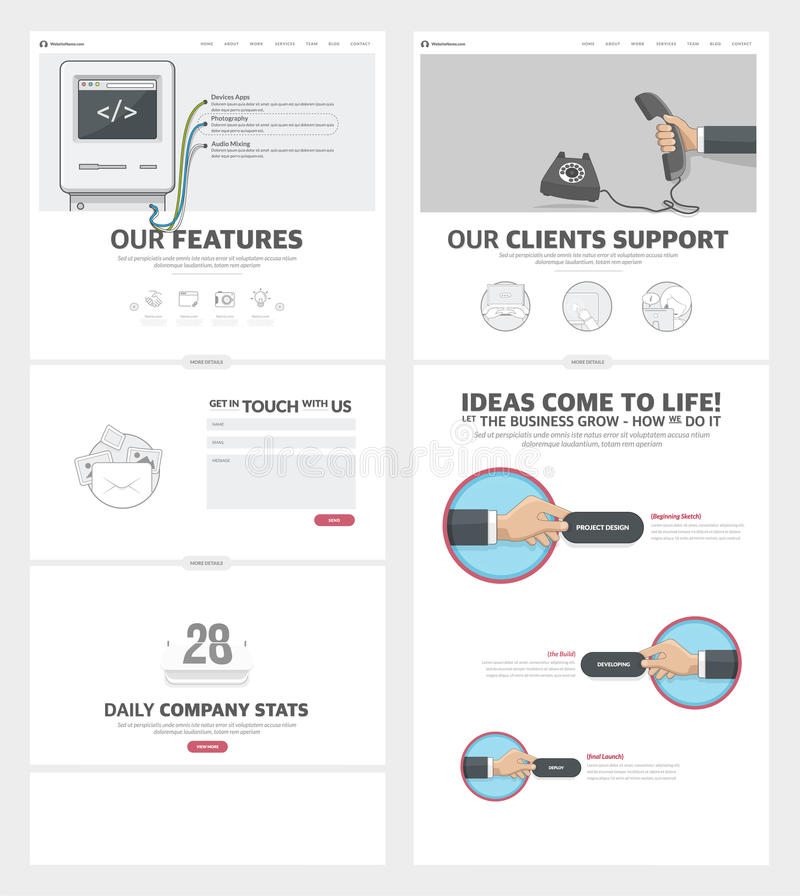 Πρότυπο σχεδίου ιστοχώρου δύο σελίδων με τα εικονίδια και τα είδωλα έννοιας για το χαρτοφυλάκιο επιχειρησιακής επιχείρησης ελεύθερη απεικόνιση δικαιώματος
