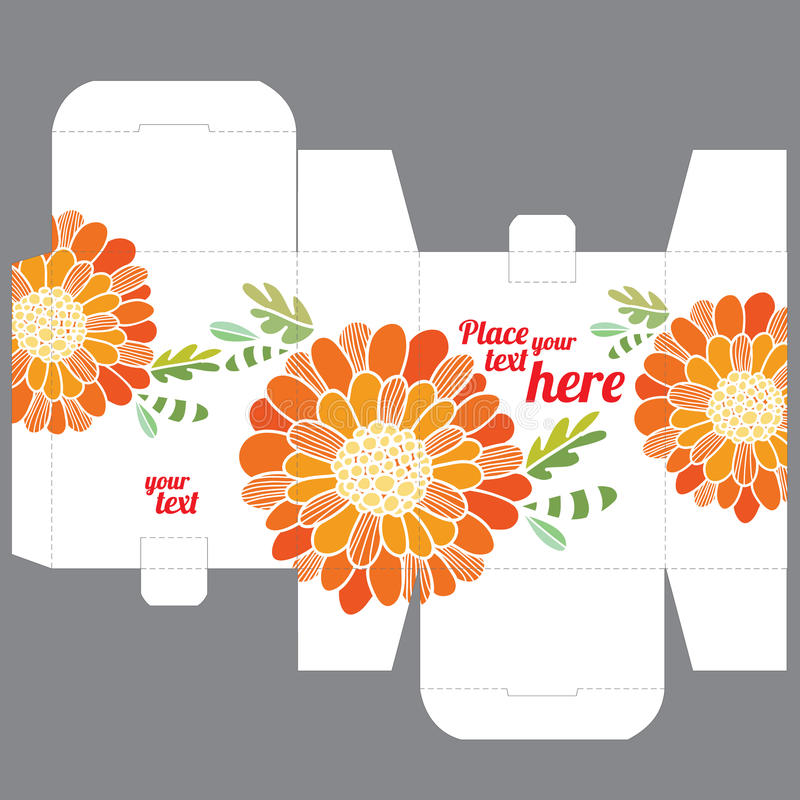 Πρότυπο σχεδίου κιβωτίων γαμήλιας εύνοιας δώρων με το σχέδιο φύσης απεικόνιση αποθεμάτων